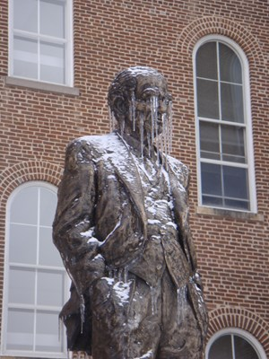 Photo of Fulbright Statue taken during ice storm of 2009.