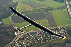 The first Solar Impulse plane, flying over Switzerland. Photo courtesy of Solar Impulse.