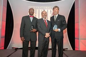 l-r: Godwin-Charles Ogbeide, Council President Dennis Reynolds and Bob Harrington