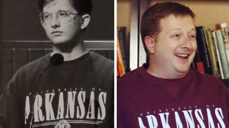 Shane Whitlock in his University of Arkansas sweatshirt. Left: During his 1996 Jeopardy! appearance. Right: In his 2013 Battle of the Decades nomination video.