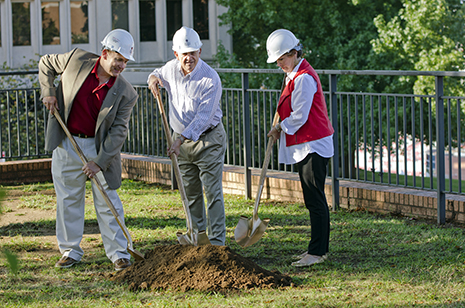 """The Oct. 12 groundbreaking for """"Hawkins Terrace"""" and the outdoor student learning center included (from left) Bumpers College Dean Mike Vayda, Bill Hawkins and Suzanne Hawkins."""