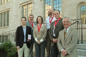 Honors College Faculty Award recipients (l-r) Noah Billig (accepting on behalf of Kim Sexton), Charles Rosenkrans, Jr., Molly Rapert, Robert Stapp, and David Fredrick, with Dean Bob McMath.
