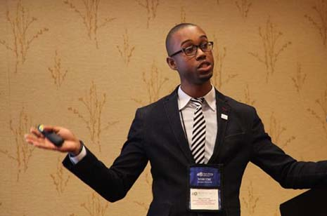 Keiron Durant, an honors chemical engineering student, presents his research at the 2013 annual meeting of the National Organization of Black Chemists and Chemical Engineers.