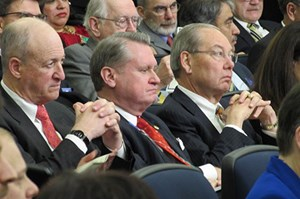 Chancellor Gearhart, attending White House higher education summit with other university and college presidents and chancellors. (Photo by Sarah Wire, courtesy of the Arkansas Democrat Gazette.)