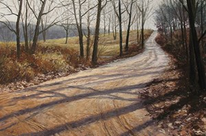 """Tracks and Shadows"", pastel by Judy Howard."