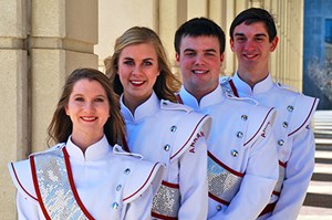 The 2014-15 Razorback Marching Band drum majors Jamey Julian, Julianne Clements, Austin Cash and David Cox.