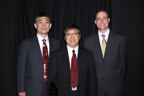 From left to right, Jia Di, Fisher Yu and Douglas Spearot, recipients of the 2014 College of Engineering Imhoff Award.