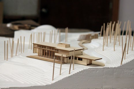 This site model created by Fay Jones School students shows the Bachman Wilson House, by Frank Lloyd Wright, as it will be situated on site at Crystal Bridges Museum of American Art. Students have also designed and will build a viewing pavilion near the house.