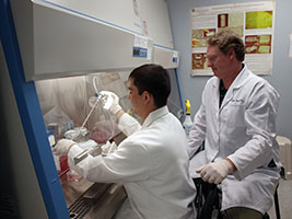 Jeffrey Wolchok, right, works with a biomaterial that can regenerate damaged skeletal muscle.