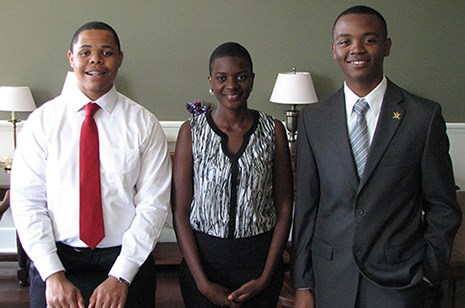 Winners of the poster competition were (left to right) Eric Craig, Ruth Wangia and Jaylan Dawson