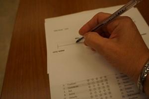 A participant fills out a survey.