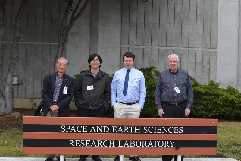 From left to right: Yupo Chan of the University of Arkansas at Little Rock, Adam Huang, Morgan Roddy and Ed Wilson of Harding University pose together at the NASA Ames Research Center