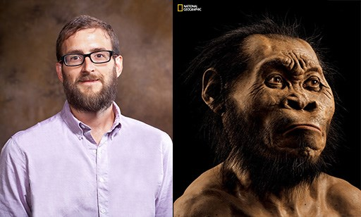 Left, Lucas Delezene by Russell Cothren; right, Homo naledi by Mark Thiessen