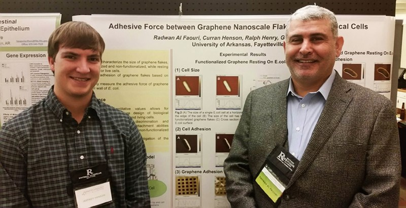 Curran Henson and Radwan Al Faouri stand before a poster depicting the graphene research they presented at the Nanotechnology for Healthcare Conference