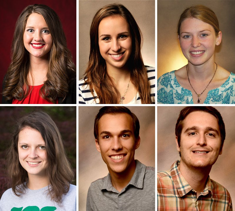 Bumpers College students who earned research grants, from left, top row: Paige Acklie, Madison Brown, Olivia Caillouet; bottom row: Sarah Hallett, Dylan Milholen and Elliott Pruett. Steven Thao not pictured.