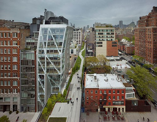 HL23 is a 14-floor condominium tower along the High Line at 23rd Street in New York's West Chelsea arts district. (Image courtesy of Neil M. Denari Architects)
