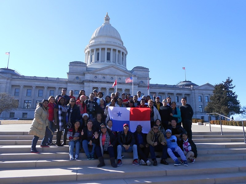 Participants in the Panamanian teacher training program visit the Arkansas State Capitol Building.