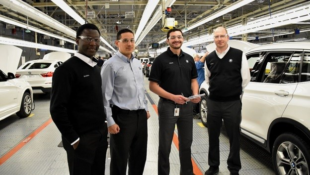 Arturo Nuñez Uribe (third from left) is spending six months on an internship with automaker BMW.