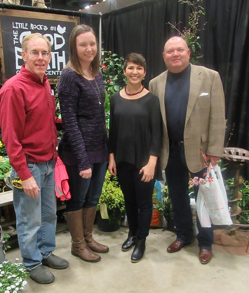 Jim Robbins (from left), president of the Arkansas Flower and Garden Show, with Bumpers College horticulture student Lesley Smith, and Shannon Mason and Garry McDonald of the Horticulture Department.
