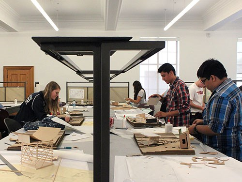 Students participate in the Design Camp held in summer 2015 in Vol Walker Hall on the University of Arkansas campus in Fayetteville.