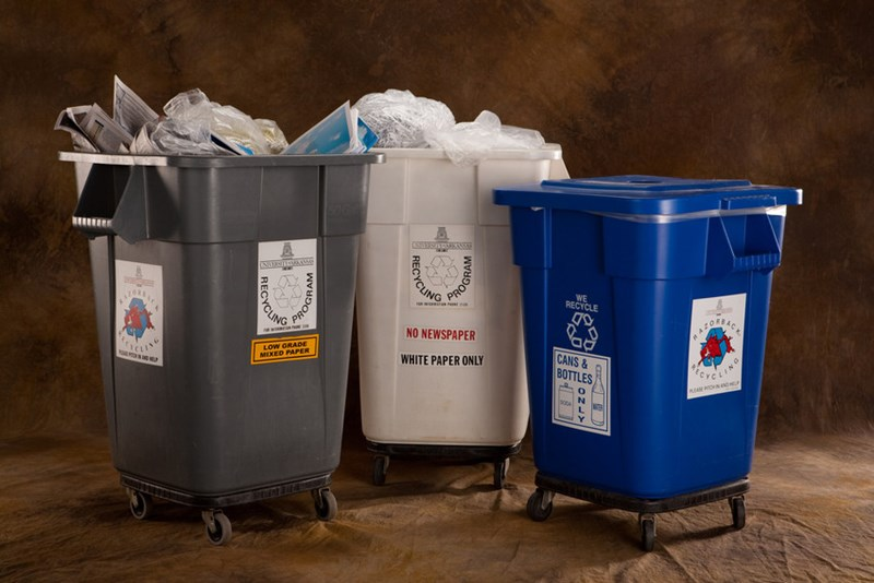 All plastics No. 1-7 can now be recycled in the blue bins on campus, along with aluminum and steel cans and glass bottles.