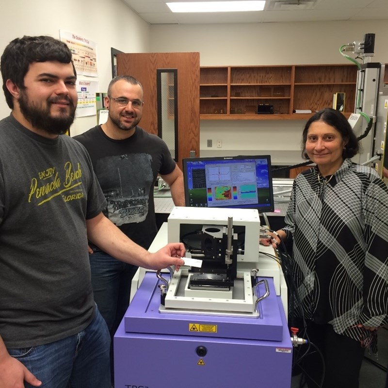 El-Shenawee (right) and graduate students Tyler Bowman (left) and Nathan Burford (center) are studying the use of terahertz imaging in breast cancer treatment.