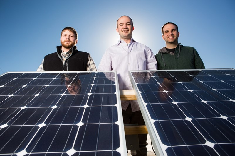 Brennen Freiburger (from left), Corey Thompson and Drew Fleming form the core of WattGlass' technical team.