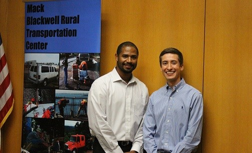 Joseph Daniels (left), Bryan Casillas (right) and Michael Deschenes (not pictured) received Eisenhower Fellowships in recognition of their work in the field of transportation research.