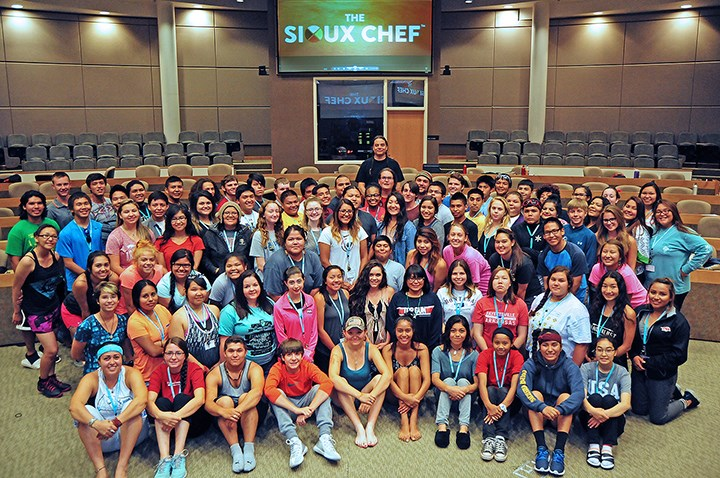 Chef Sean Sherman and the youth and student leaders of the 2016 Native Youth in Food and Agriculture Leadership Summit