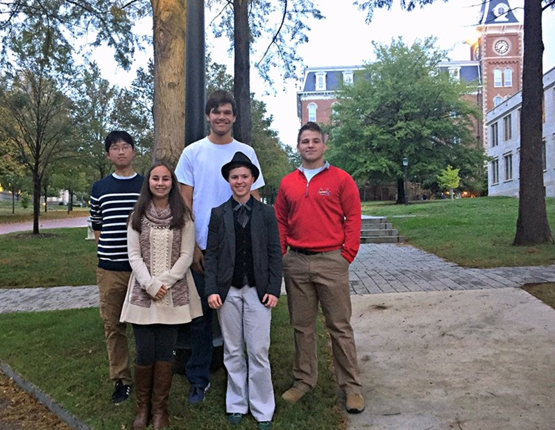 International Engineering Program students Connor Heo (from left), Allison Rucker, Steven Blackiston, Braelyn Smith and John McKenna gear up for a successful fall semester.