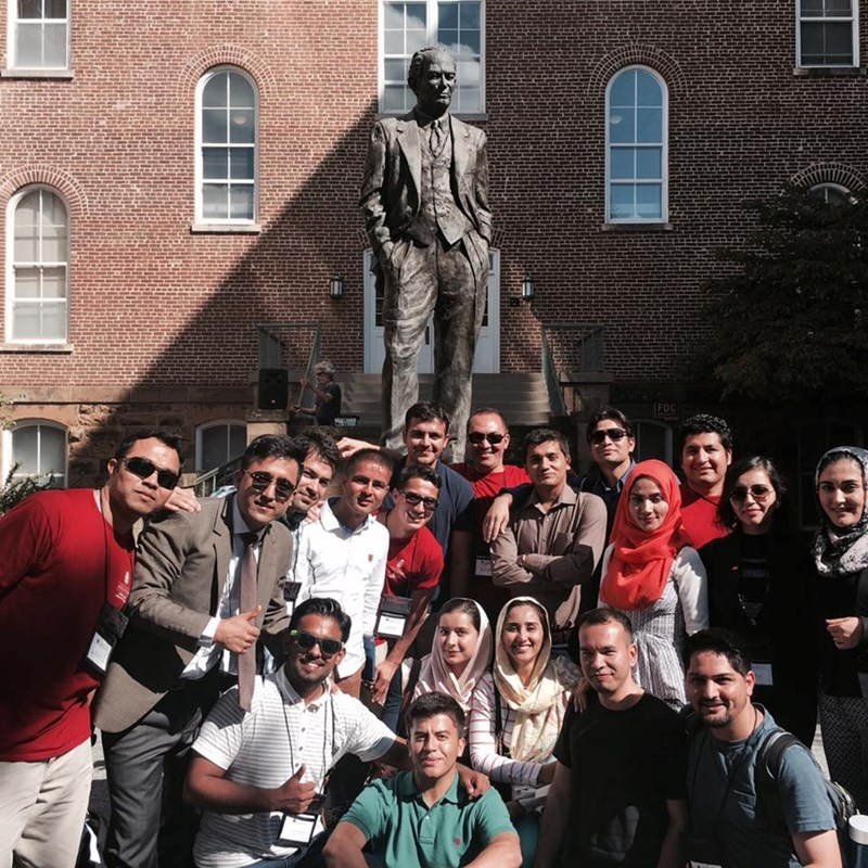 Some of the more than 80 U.S. Department of State-sponsored Fulbright Program participants from Afghanistan, who visited the University of Arkansas last semester.