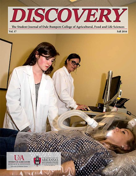 The Discovery 2016 cover featured Bumpers student Lauren Cambias with her mentor, Jamie Baum, collecting data in the lab for their research, 'Evaluation of protein source at breakfast on energy metabolism, metabolic health, and food intake: a pilot study.'