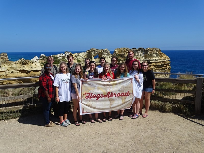 The Bumpers College group participating in the first International Programs trip to Australia and New Zealand included (front row, from left) Brittany Rodgers, Kelly Fowler, Mackenzie Jennings, Lesleigh Beer, Morgan Stanley, Anna Castleberry, Addy Gray and Olga Brazhkina, and (second row) Aaron Edwards, Robert Hudgens, Sara Jepsen, Jordan Payton, Abby Ratton and Justin Hamm. Not pictured: Rachel Knox.