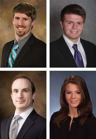 From left, top Stephen Bauman and Zachary Brawley; and bottom David French and Madison Whitby.