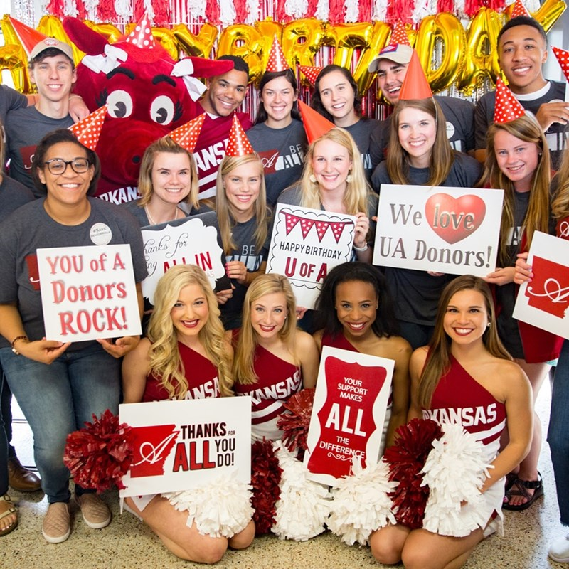 Faculty, staff and students celebrated the university's 146th birthday at the Arkansas Union on March 29 and thanked donors for their support. All in for Arkansas ended up raising $411,175 for initiatives across campus.