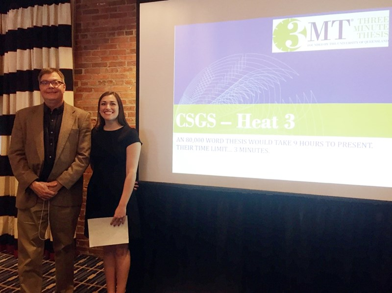 Jade Najjar, with adviser and plant pathology professor Ken Korth, won the U of A's inaugural Three Minute Thesis competition last year to earn a spot in this year's Conference of Southern Graduate Schools regional contest.
