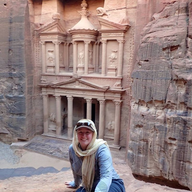 Doctoral student Kaelin Groom in Petra, Jordan.