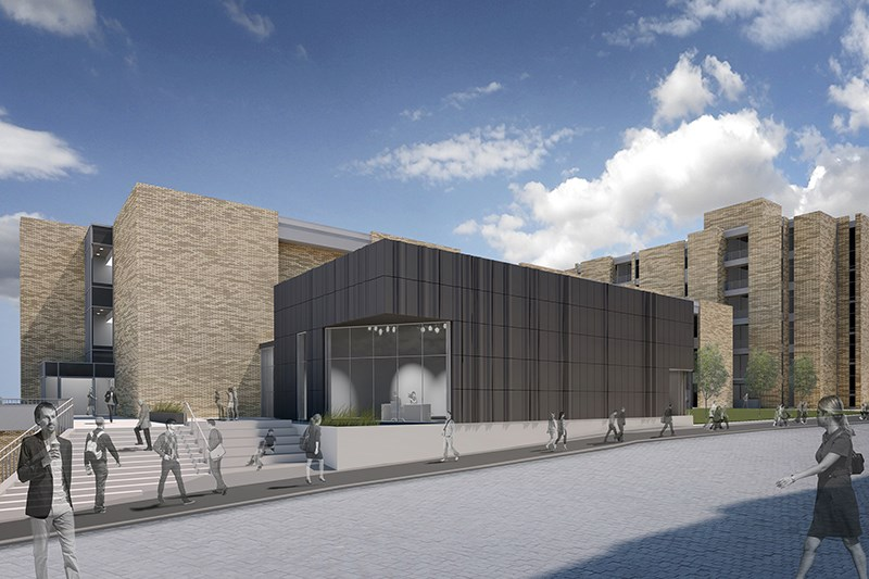 Architectural rendering of the UATV studio as part of the new Sue Walk Burnett Journalism and Student Media Center