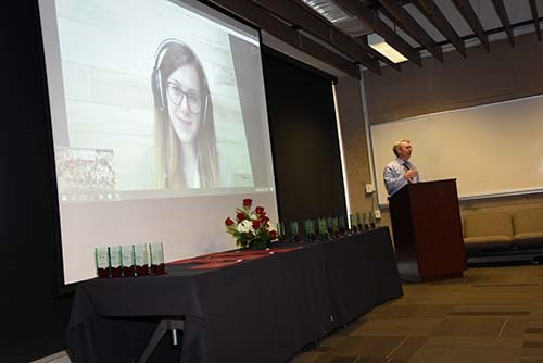 Danielle Neighbour, the 2017 College of Engineering Outstanding Senior, joined the awards ceremony from New York over Skype.