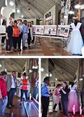 Top: The complete LED Fashion Show project included three posters: Communications & Cameras, Garments, and Interactive Runway. Above left and right: Electrical engineering seniors Alicea Barnet and Isabelle Pumford described the interactive runway and lit garments to onlookers.