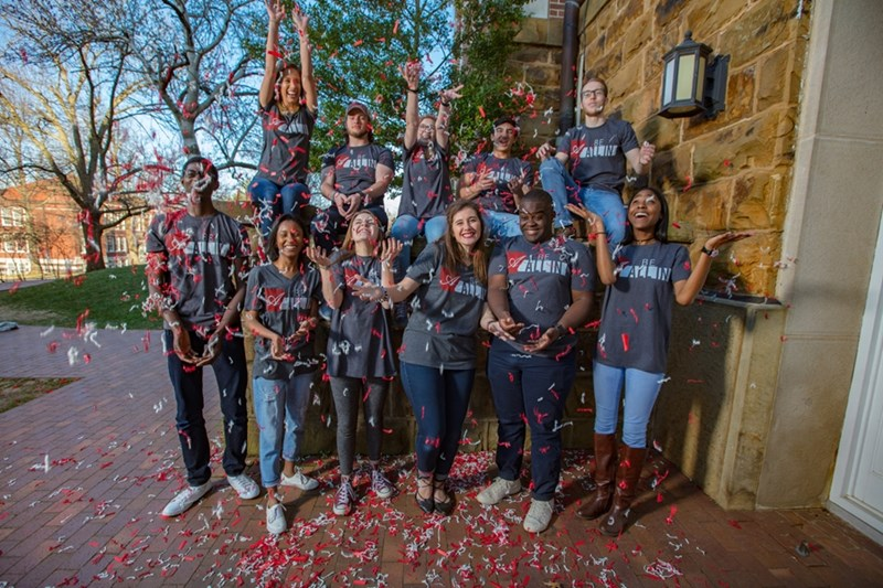 Students celebrate the successful conclusion of All In for Arkansas, the university's second annual giving day. The university raised $134.2 million in private gift support in fiscal year 2017 and pushed its Campaign Arkansas total past $650 million.