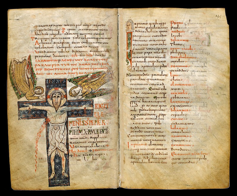 Gellone Sacramentary (c. 800). Paris: Bibliothèque Nationale de France, Cod. Lat. 12048, fol. 143 verso and fol. 144 recto.