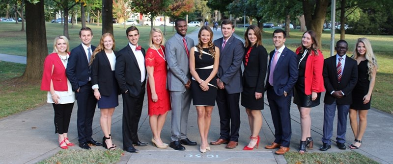 The 2016-17 Homecoming Court, including Queen Shelby Cormack (far right) and King Moses Agare (second from right)