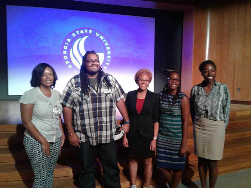 Left to right: award winners Karena Gill, David Davis, Kopo Oromeng, Nicollette Mitchell, and Timmera Whaley of the University of Arkansas.
