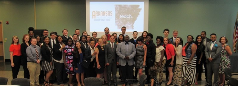 Members of Arkansas Teacher Corps' 2017 Cohort and staff celebrate the completion of 2017 Summer Institute, held at the Osceola School District. The celebration event took place in July at Arkansas Northeastern College in Blytheville.