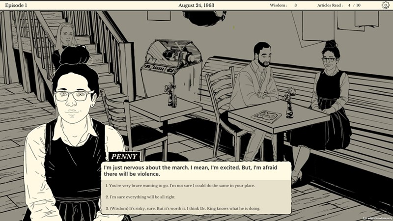 Still image from the Tesseract Center's award-winning game, Mornin' In Your Eyes.