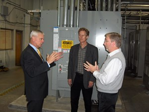 (from left to right) Congressman Steve Womack, Roy McCann and Alan Mantooth discuss issues facing the nation's electric power grid in a visit to NCREPT this month.