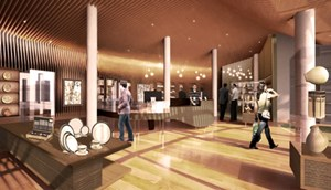 Computer rendering of the museum store at Crystal Bridges Museum in Bentonville, designed by Distinguished Professor of architecture Marlon Blackwell.