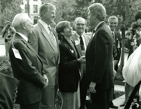 Diane Blair shakes hands with Gov. Bill Clinton on the University of Arkansas campus in 1992.  From left to right: Carl S. Whillock, James B. Blair, Diane Blair, Morriss Henry, Bill Clinton, and Bernie Madison, dean of Fulbright College (Diane Blair Papers, MC 1632, image # 1324; all images from University of Arkansas Libraries, Special Collections Department.)