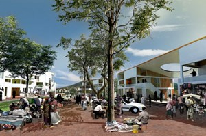 A commercial shared street is part of the urban neighborhood plan for Kigali featured in a manual created by the University of Arkansas Community Design Center.